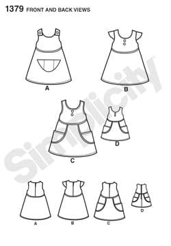 1379 Simplicity Pattern: Child's Dress and Dress for 18